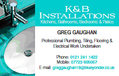 K & B Installations Tel:0121 241 1422 Mobile:07723 605 057